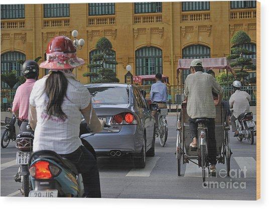 Traffic In Downtown Hanoi Wood Print by Sami Sarkis
