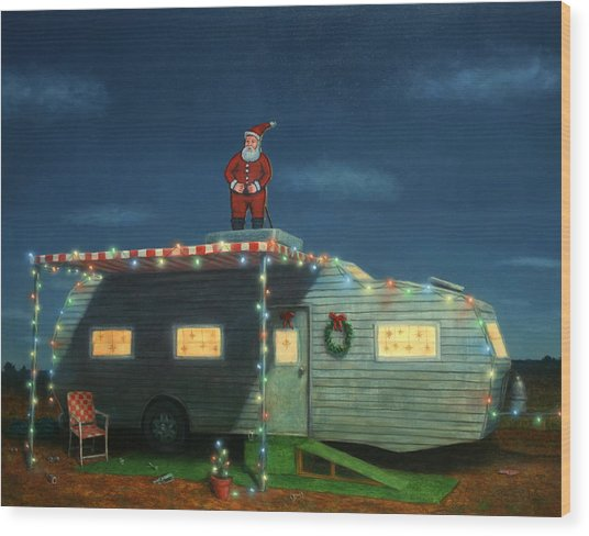 Trailer House Christmas Wood Print