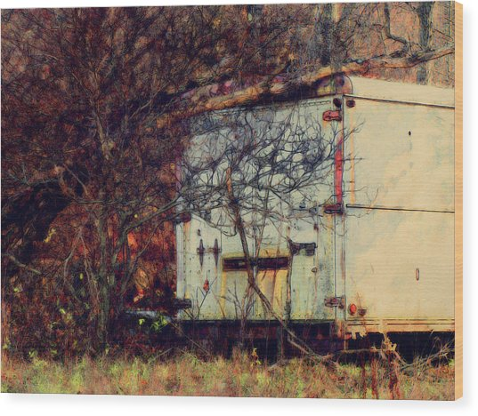 Trailer In The Woods Wood Print