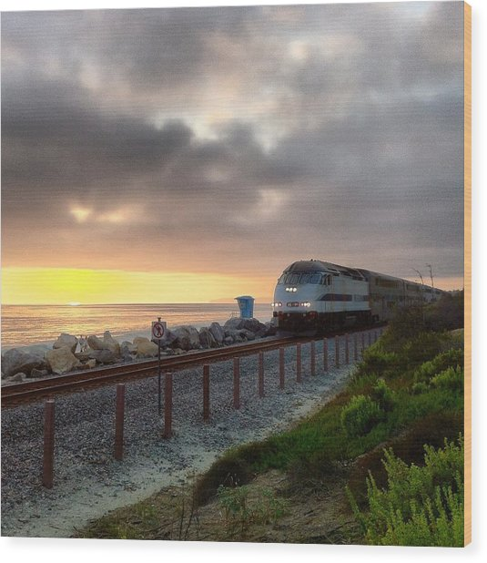 Train And Sunset In San Clemente Wood Print