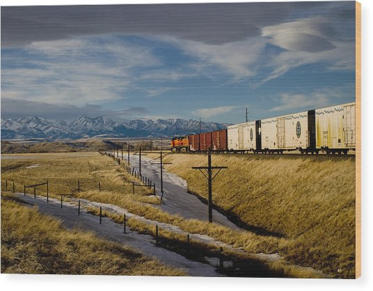 Train And The Crazies By Big Timber Montana Wood Print
