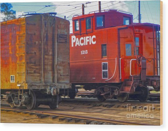 Train Car And Caboose Wood Print