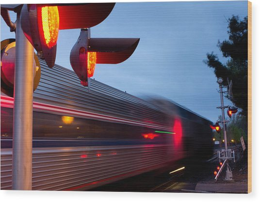 Train Crossing Road Wood Print