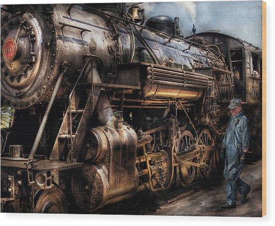 Train - Engine -  Now Boarding Wood Print