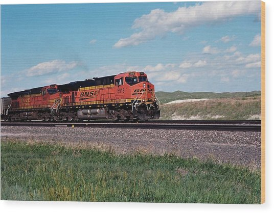 Train Engines On The Prairie Wood Print