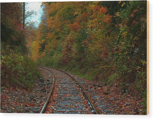 Train Fall Wood Print