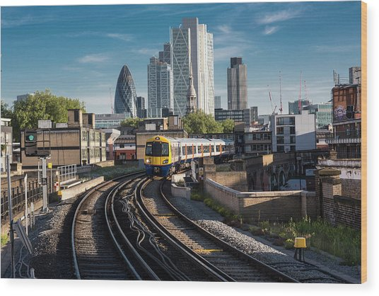 Train Leaving The City, London Uk Wood Print by Tim E White