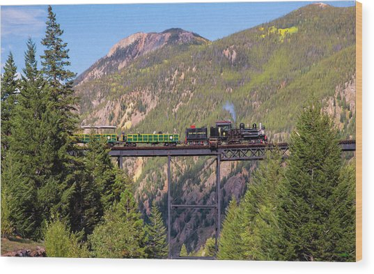 Train Over The Trestle Wood Print