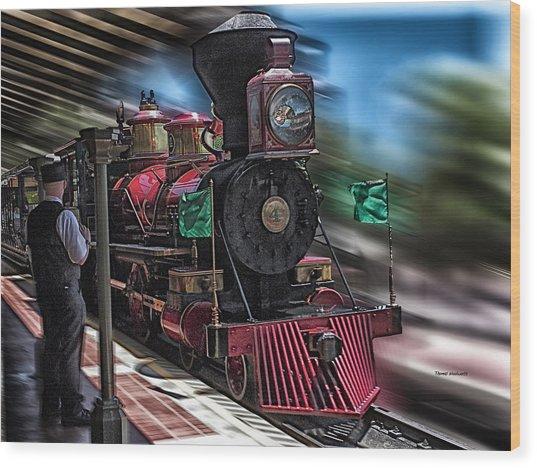 Train Ride Magic Kingdom Wood Print