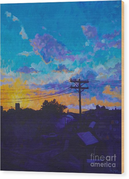 Train Side Sunrise Wood Print