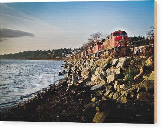 Train Speeding Through Whiterock Wood Print