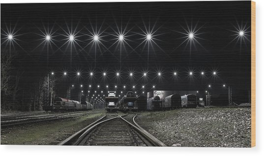 Train Stars Wood Print by Leif L?ndal