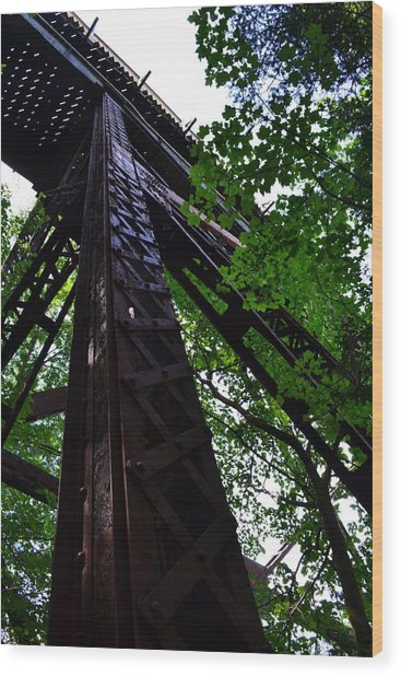 Train Trestle In The Woods Wood Print