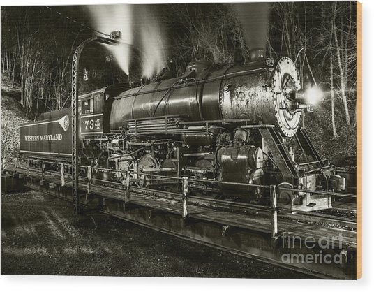Train Turntable In Frostburg Maryland Wood Print