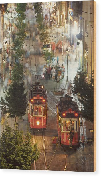 Trams In Beyoglu Wood Print