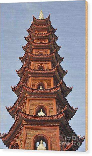 Tran Quoc Pagoda In Hanoi Wood Print by Sami Sarkis