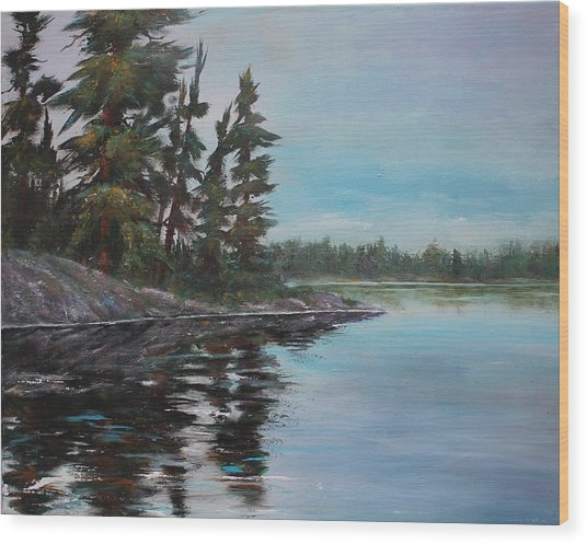 Wood Print featuring the painting Tranquil Bay by Ruth Kamenev