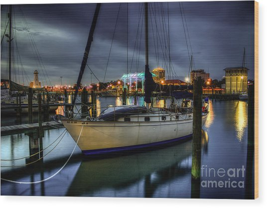 Tranquil Harbour Evening Wood Print