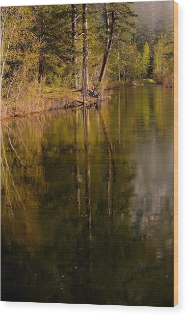 Tranquil Merced River Wood Print