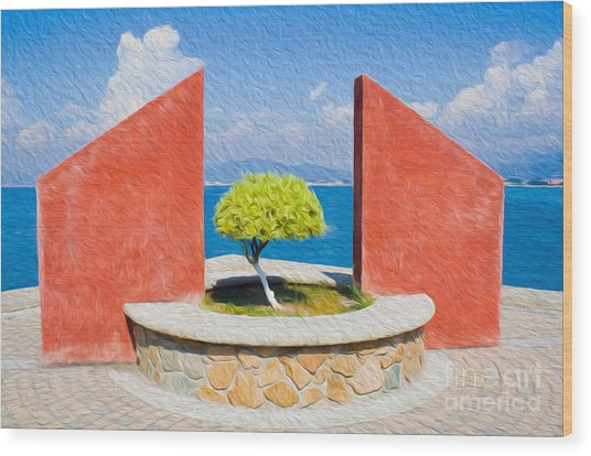 Wood Print featuring the digital art Tranquil Surroundings by Kenneth Montgomery