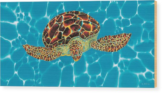 Caribbean Sea Turtle Wood Print