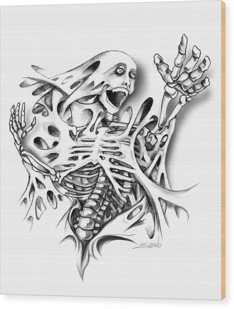 Trapped Skeleton By Spano Wood Print