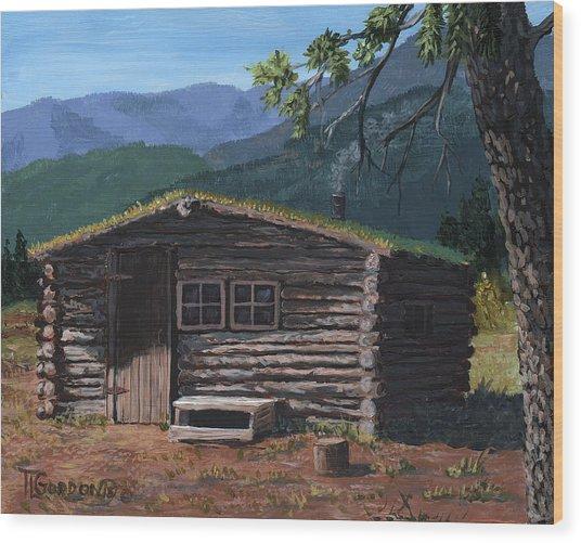 Trapper Cabin Wood Print