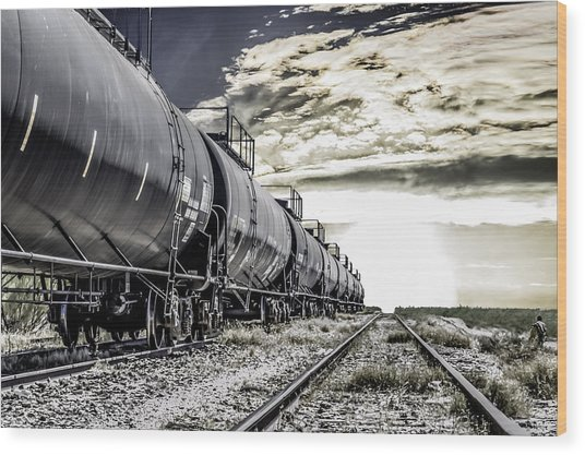 Train And Transient Wood Print by Brian Yasumura Jr