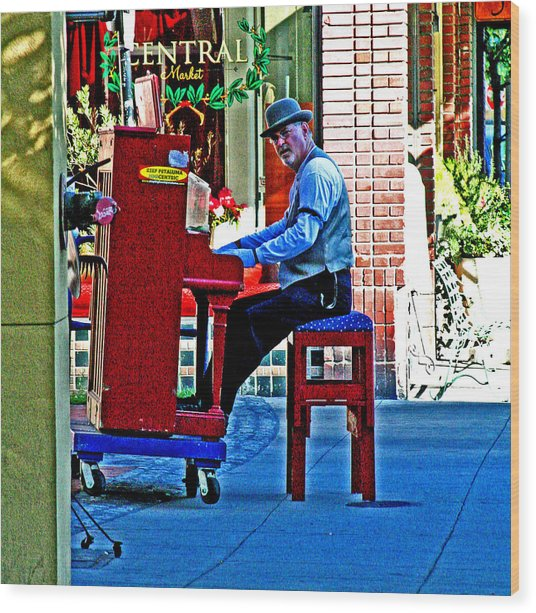 Traveling Piano Player Wood Print