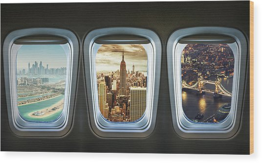 Traveling The World With An Airplane Wood Print by Franckreporter