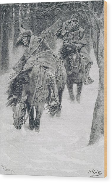 Travelling In Frontier Days, Illustration From The City Of Cleveland By Edmund Kirke, Pub Wood Print