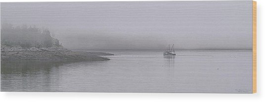 Trawler In Fog Wood Print