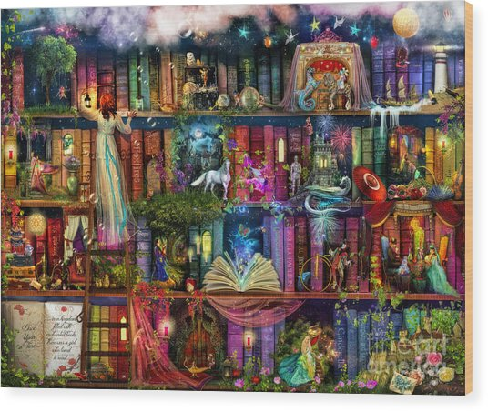 Fairytale Treasure Hunt Book Shelf Wood Print