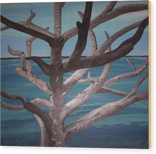 Tree And Beach Wood Print
