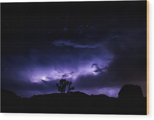 Tree And Lightning Wood Print