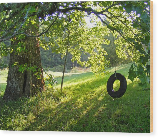 Tree And Tire Swing In Summer Wood Print