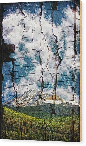 Tree Bark Mountain Tapestry Wood Print