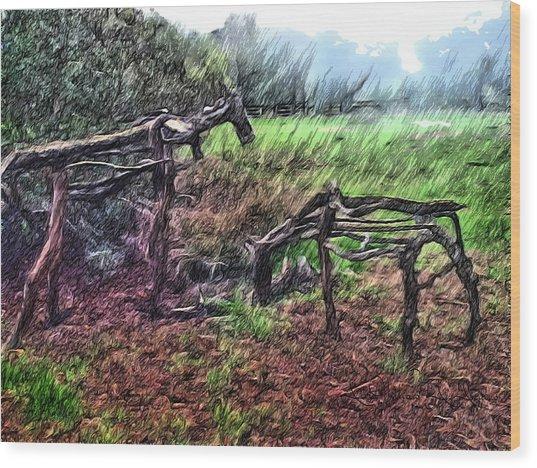 Tree Horse Wood Print
