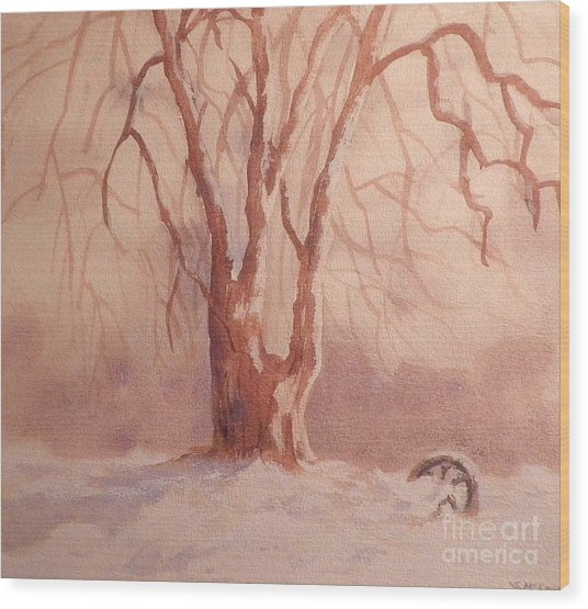Tree In Snow Wood Print