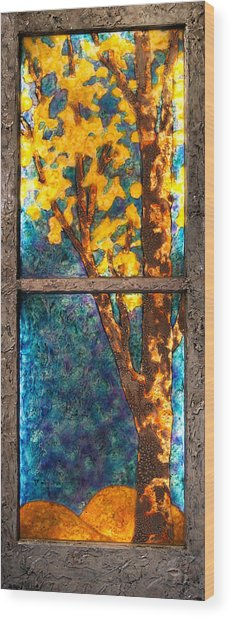 Tree Inside A Window Wood Print
