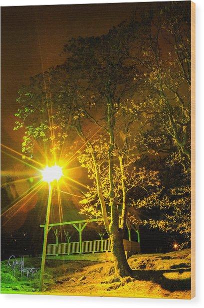 Tree Lights Wood Print