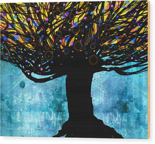 Tree Of Life Blue And Yellow Wood Print