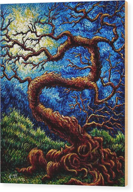 Tree Of Life Wood Print by Sebastian Pierre