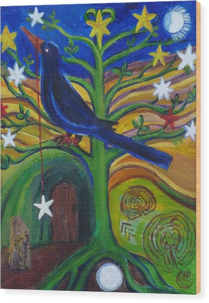 Tree Of Stars Wood Print