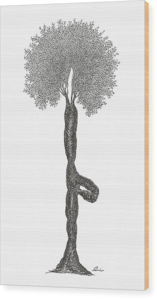 Tree Pose Wood Print