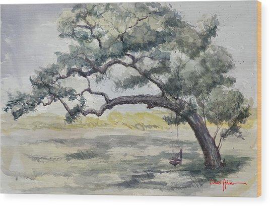Da187 Tree Swing Painting By Daniel Adams Wood Print