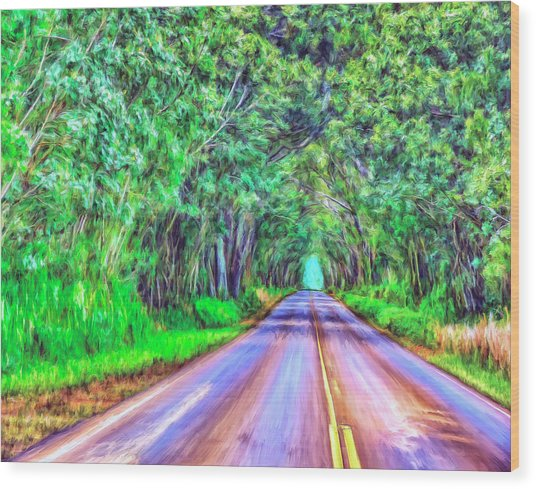 Tree Tunnel Kauai Wood Print