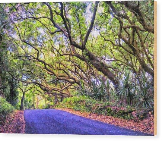 Tree Tunnel On The Big Island Wood Print