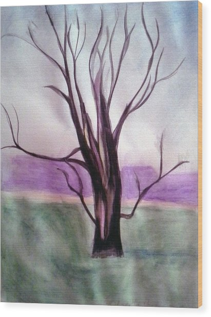 Tree Watercolor Wood Print