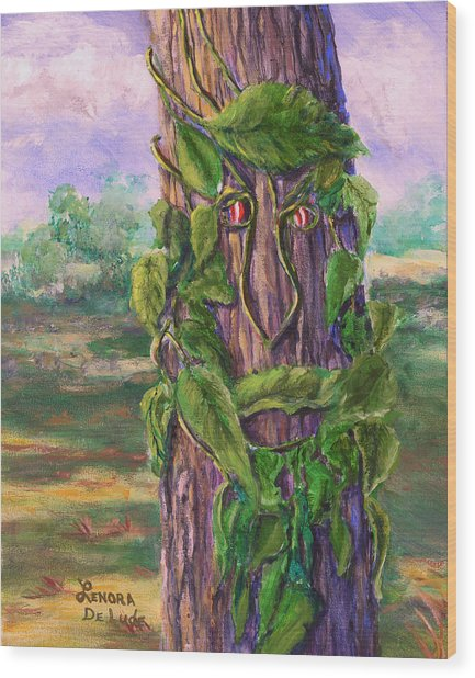 Tree With A Leaf Face Landscape Art Wood Print